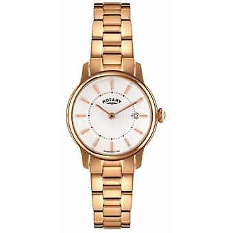 Rotary Womens Locarno Rose Gold PVD White Dial LB02774/02 Watch