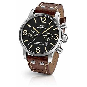 TW Steel Mens Maverick Chronograph Brown Leather Strap Black Dial MS3 Watch