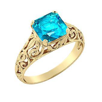 14k oro giallo 2,00 CT topazio azzurro Anello Vintage Art Deco filigrana