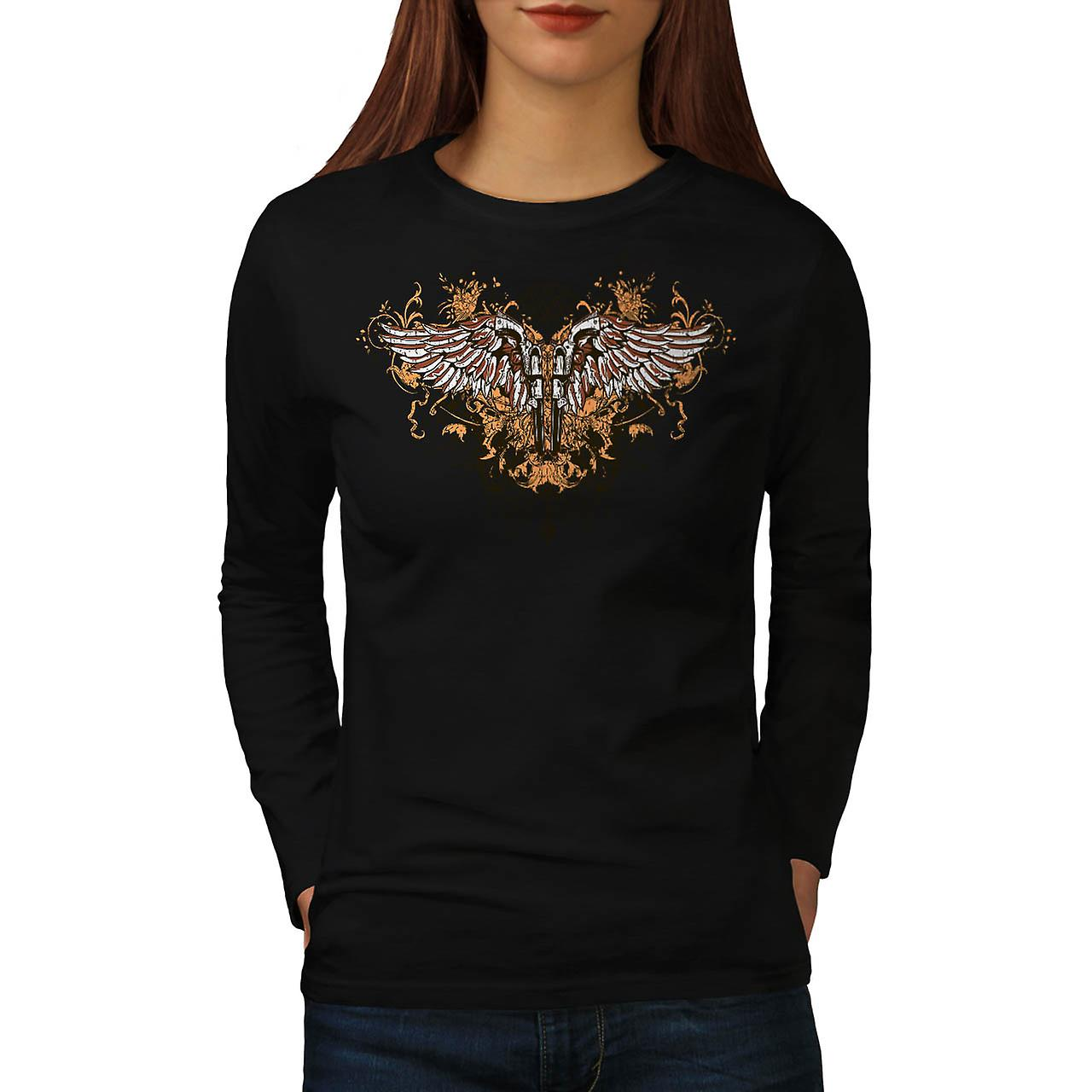 Pistol Gun Angel Wing Gang Land Women Black Long Sleeve T-shirt | Wellcoda