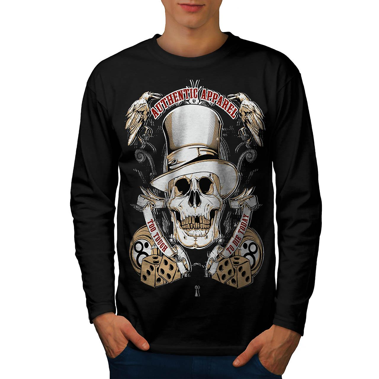 Authentic Dead Casino Game Head Men Black Long Sleeve T-shirt | Wellcoda