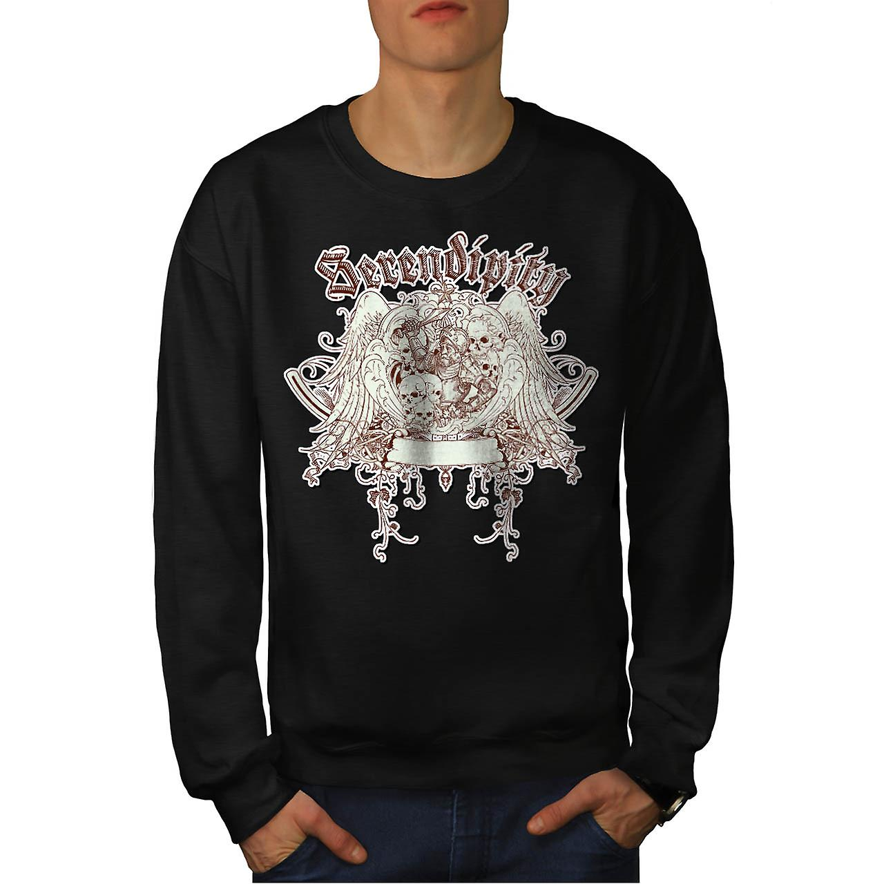 Serendipity Skull Fashion Men Black Sweatshirt | Wellcoda