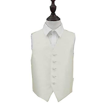 Ivory Solid Check Wedding Waistcoat for Boys
