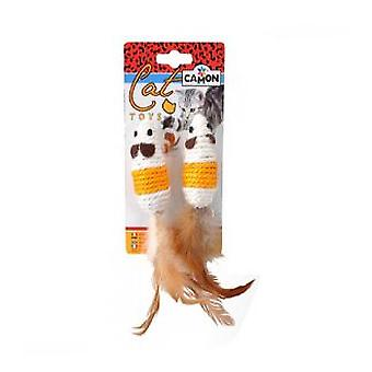 Camon Sisal Mouse With Feather 2 Und. (Katten , Speelgoed , Muizen)