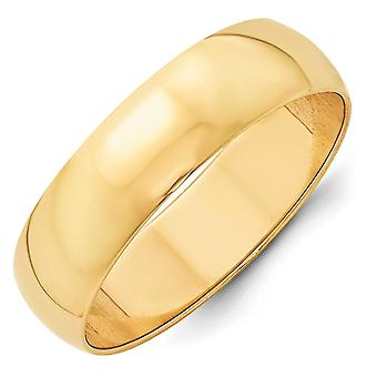 14k geel goud 6mm Ltw halve ronde Band Ring - Ringmaat: 4 tot en met 14