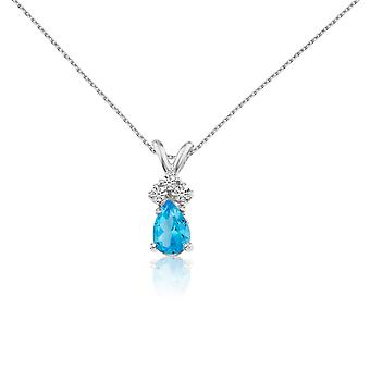14k White Gold Blue Topaz Pear Pendant with Diamonds and 18