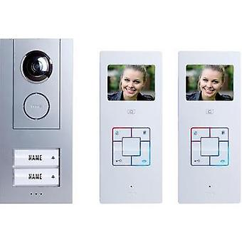 Video door intercom Corded Complete kit m-e modern-electronics Vistus VD6320 Semi-detached Silver, White