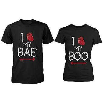 I Heart My Bae and Boo Pointing Each Other Matching Couple Shirts for Halloween