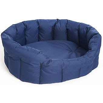Country Dog Heavy Duty Waterproof Oval Drop Front Softee Bed Blue Size 4 61x51x22cm