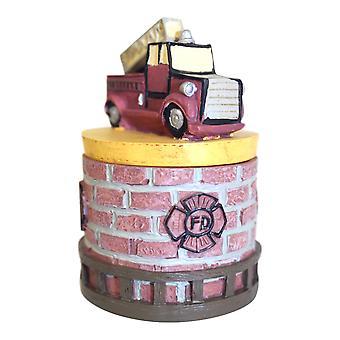 Fire Truck Firefighter Fireman Hero Lift Off Lid Trinket Box