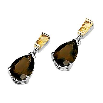 Smoky Quartz and Citrine Earrings 3.00 Carats (ctw) in Sterling Silver