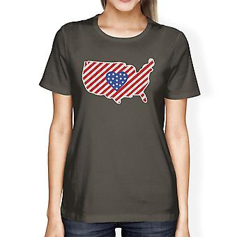 USA Map American Flag Womens Dark Gray T-Shirt For Independence Day
