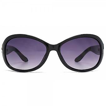 Kurt Geiger Victoria Medium Wrap Sunglasses In Black On White