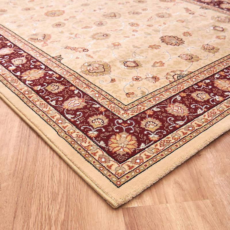 Noble Art 6529-191 Ivory centre with deep red and gold border and viscose accents Rectangle Rugs Traditional Rugs