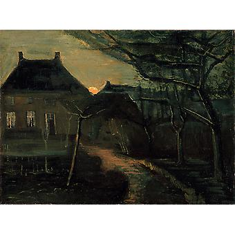 Vincent Van Gogh - The Parsonage at Nuenen at Dusk Poster Print Giclee