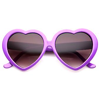 Women's Oversize Neutral-Colored Lens Heart Shaped Sunglasses 55mm