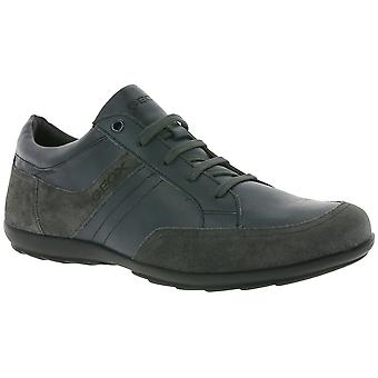 GEOX U PADGET C shoes men's genuine leather sneaker Grau with TÜV