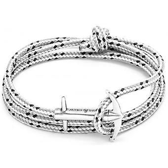 Anchor and Crew Admiral Silver and Rope Bracelet - Grey Dash