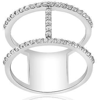 1/2ct Designer Diamond Right Hand Wide H Shape Fashion Ring 10K White Gold