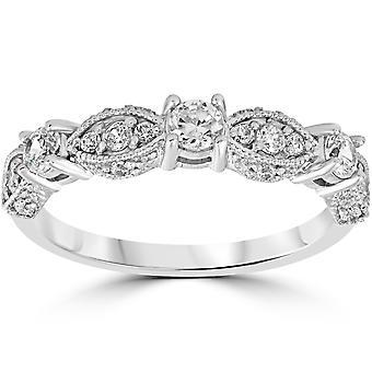 1/2 ct Vintage Diamond trouwring 14K White Gold
