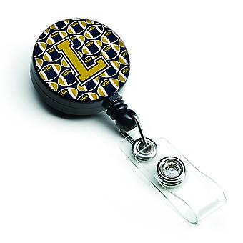 Letter L Football Blue and Gold Retractable Badge Reel