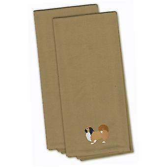 Pekingese Tan Embroidered Kitchen Towel Set of 2