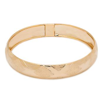"""10k Yellow Gold bangle bracelet Flexible Round with Satin and Thick High Polished Design (0.5"""")"""