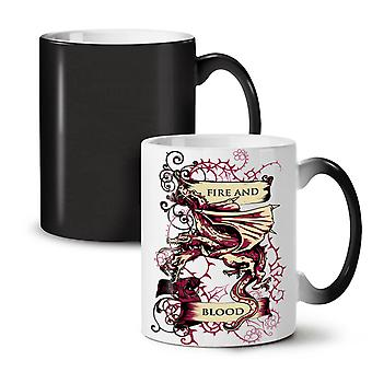 Fire And Blood Fantasy NEW Black Colour Changing Tea Coffee Ceramic Mug 11 oz | Wellcoda