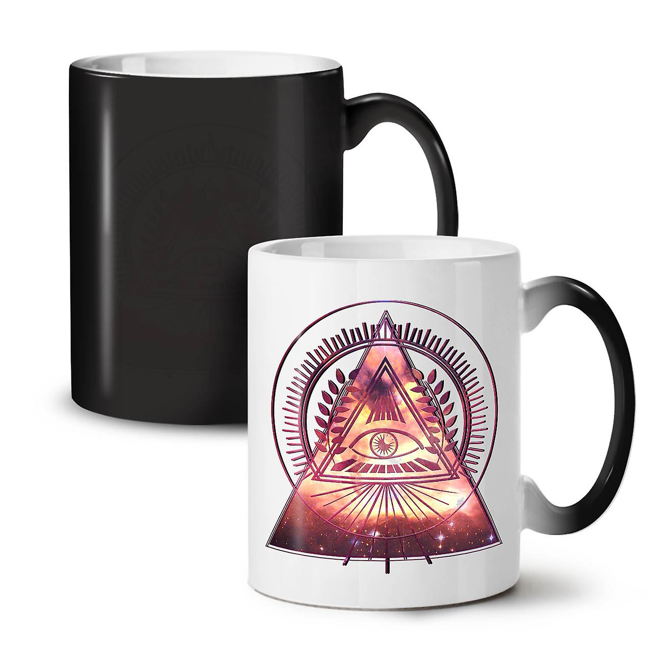 OzWellcoda Galaxy Tea Coffee Changing 11 New Triangle Ceramic Colour Mug Black kPiZuOX