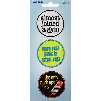 Wrights Iron-On Applique Badges 3/Pkg-Gym 19350-25001