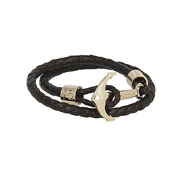 7details premium leather anchor black bracelet with anchor in Rosé gold handmade from Spain