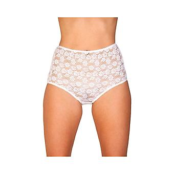 Camille White Floral Lace Front Womens Maxi Brief Knickers