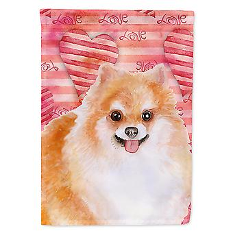Carolines Treasures  BB9803CHF Pomeranian #2 Love Flag Canvas House Size