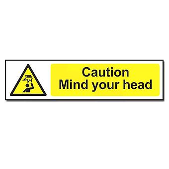 ASEC Highly Visible `Caution: Mind Your Head` Sign 200mm X 50mm