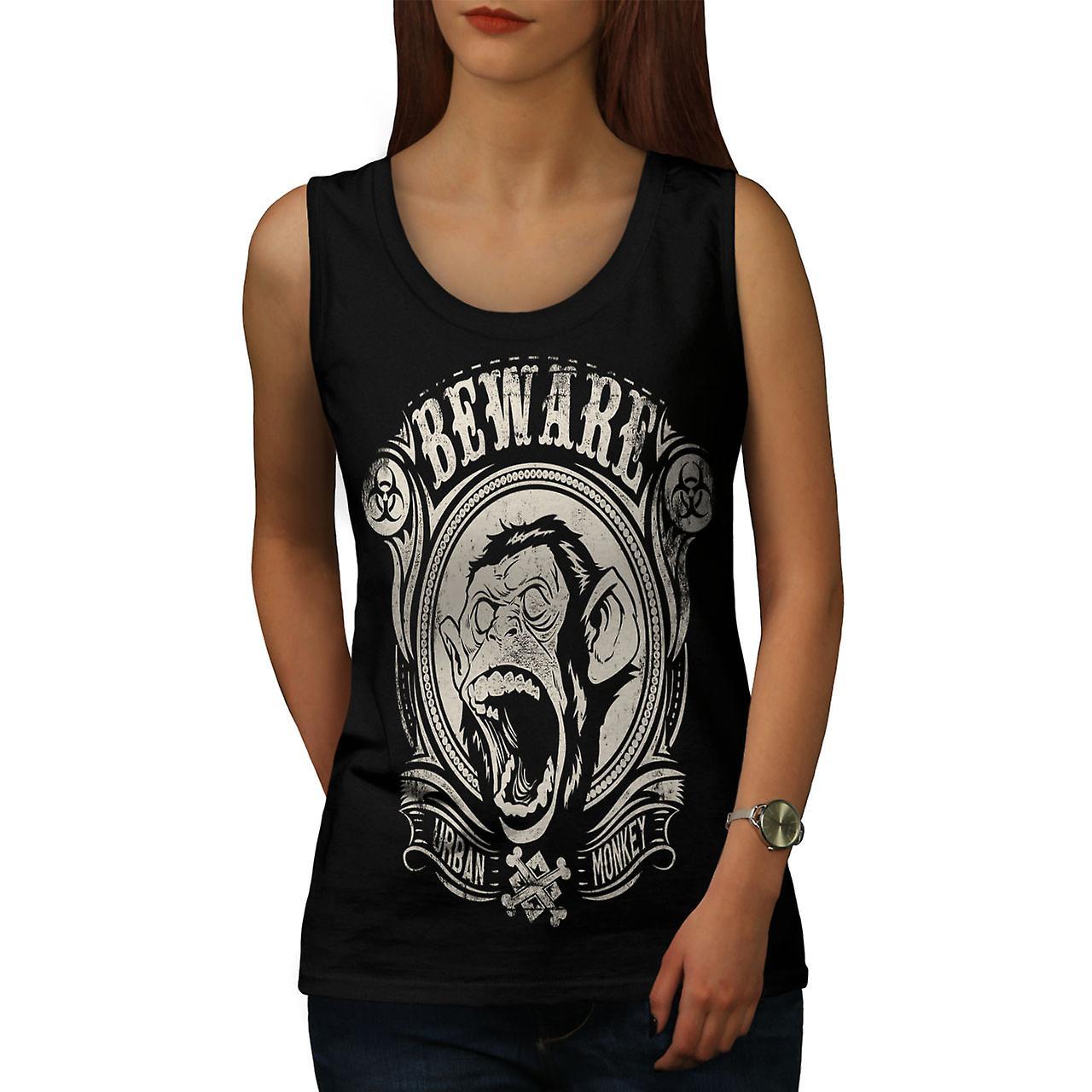 Beware Monkey Vintage Women BlackTank Top | Wellcoda
