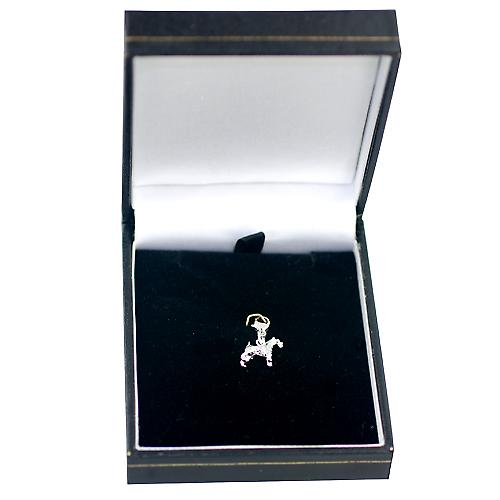Silver 19x12mm Airedale terrier charm on a lobster trigger