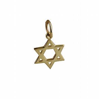 9ct Złota 12mm zwykły wisior Gwiazda Dawida lub urok