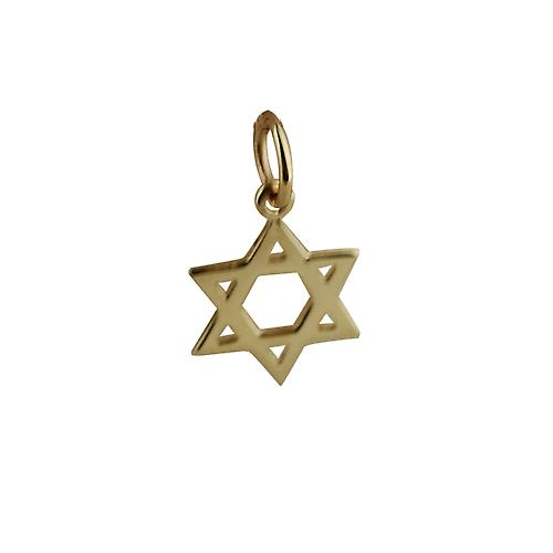9ct Gold 12mm plain Star of David Pendant or Charm