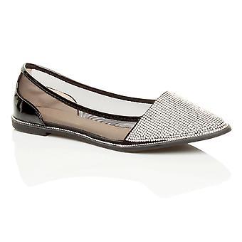 Ajvani womens diamante trim pointed toe flat slip on mesh dolly ballerina comfort shoes