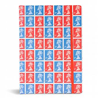 Red / Blue Stamp Notebook - A5 Hardback Stamp Collection