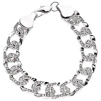 Iced out bling MICRO PAVE bracelet - CHAIN STYLE silver