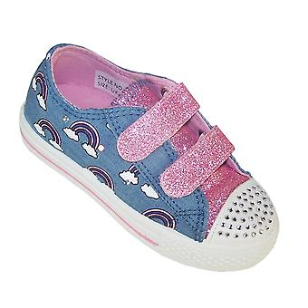 Girls blue and pink flashing lights trainers