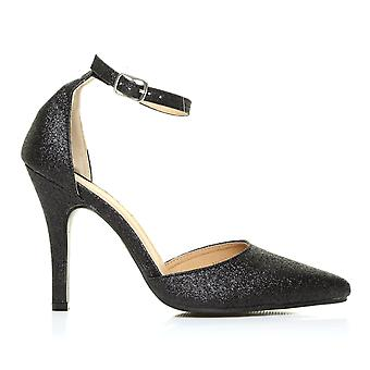NEW YORK Black Glitter Ankle Strap Pointed High Heel Court Shoes
