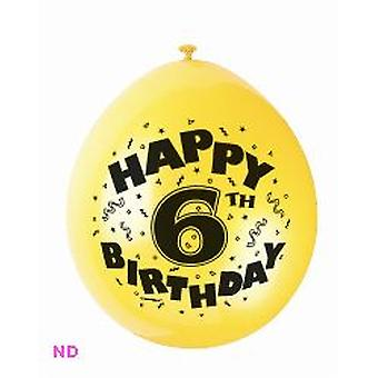 "'HAPPY 6th BIRTHDAY' 9"" Latex Balloons (10)"
