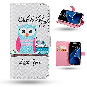 Samsung Galaxy S7-Case/Wallet Leather-Owls