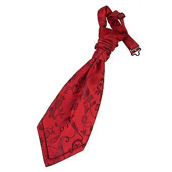 Burgundy Floral Pre-Tied Wedding Cravat for Boys
