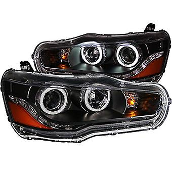 Anzo USA 121428 Black Halo Projector Headlight with Clear Lens and Amber Reflector for Mitsubishi Lancer
