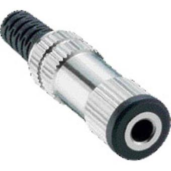 Lumberg 1522 03 3.5 mm audio jack Socket, straight Number of pins: 2 Mono Silver 1 pc(s)