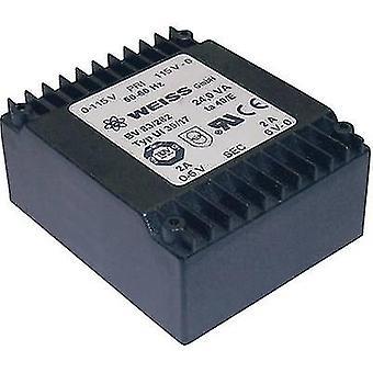 PCB mount transformer 2 x 115 V 2 x 18 V AC 24 VA 667 mA 83/287 Weiss Elektrotechnik