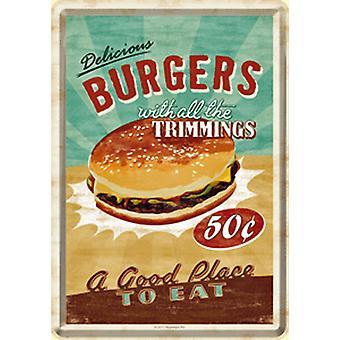 Burger With Trimmings Metal Postcard / Mini-Sign